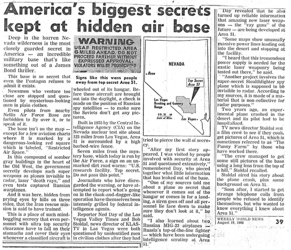 Area 51 paper article