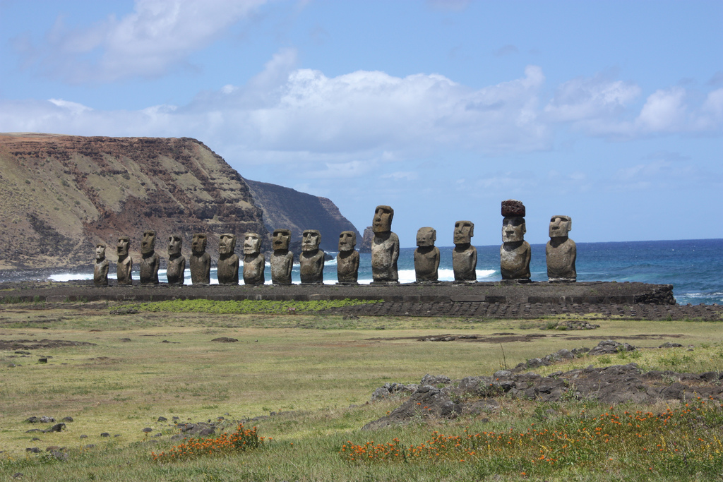 Moai statues Easter Island view